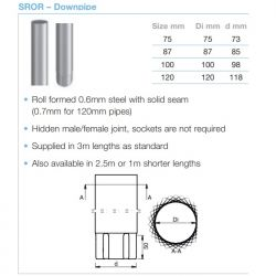 Lindab Circular Steel Downpipe x 3m (SROR)